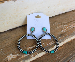 Navajo Stone Drop Hoops