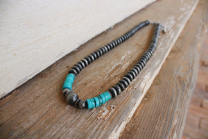 Turquoise / Silver Beaded Necklace