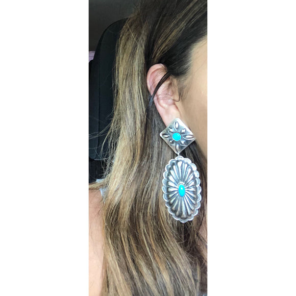 Silver / Turquoise Concho Earrings