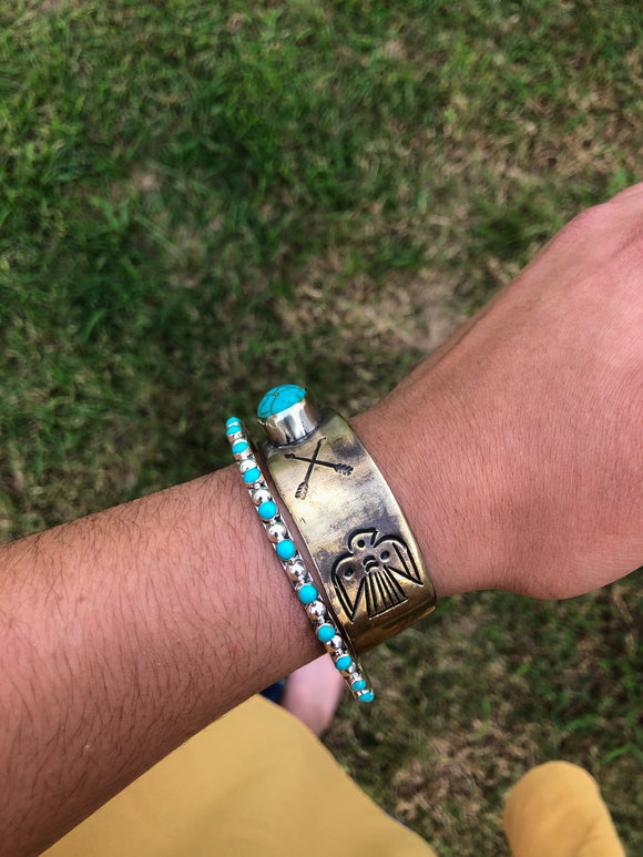 Thunderbird / Arrow Cuff & Turquoise Bangle