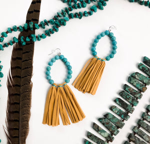 Mustard / Turquoise Fringe Earrings