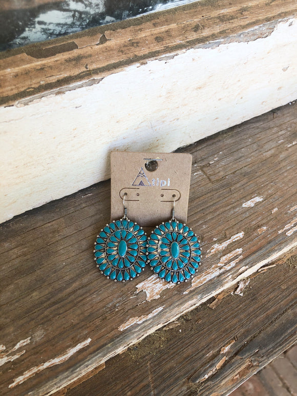 Turquoise Circle Dangles