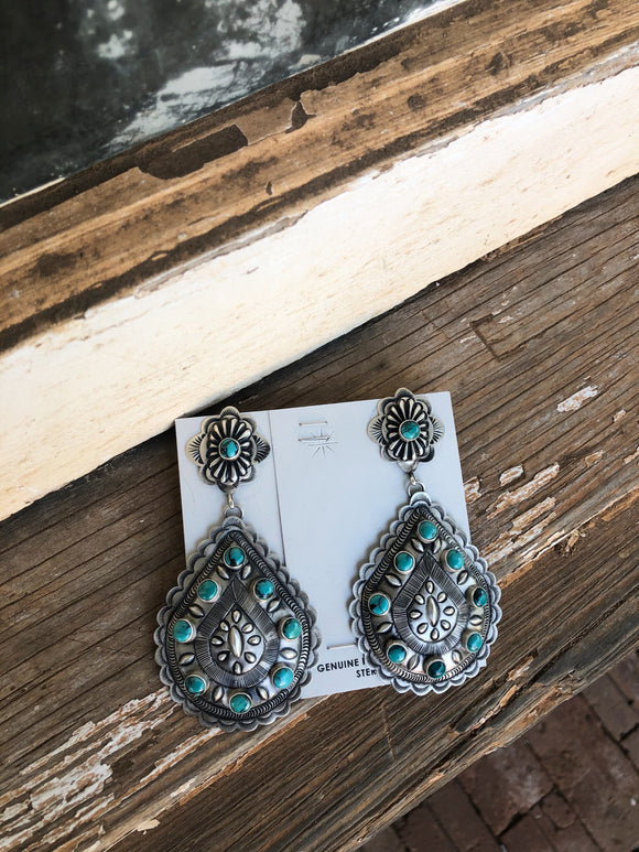 Stamped Silver / Turquoise Earrings