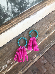 Hot Pink / Turquoise Fringe Earrings