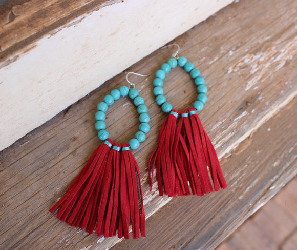 Red / Turquoise Fringe Earrings