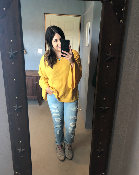 Mustard Bell Sleeve Top