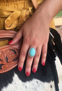 Medium Turquoise Circle Ring