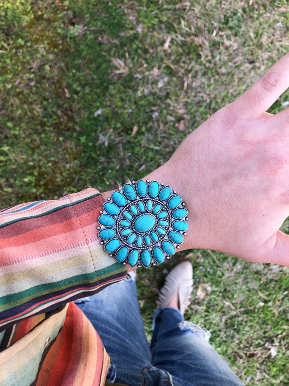 Turquoise Clip On Cuff
