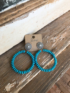 Concho Turquoise Hoops