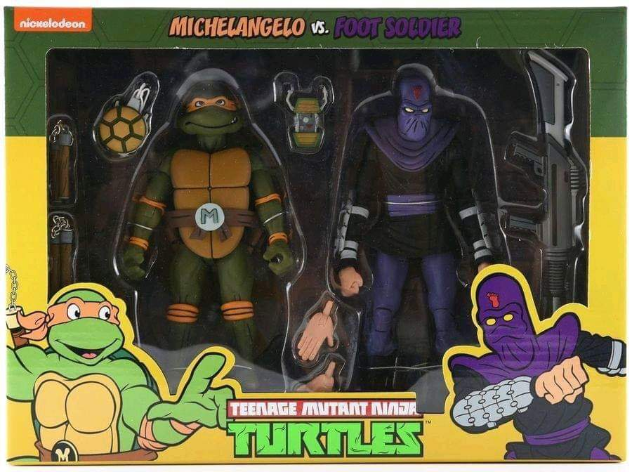 TMNT: Action Figure 2-Pack - Michelangelo vs Foot Soldier