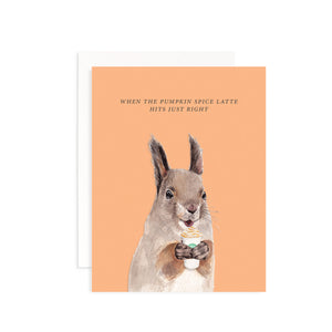 Pumpkin Spice Latte Squirrel Greeting Card
