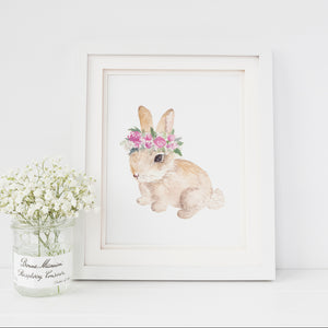 Floral Crown Bunny Art Print