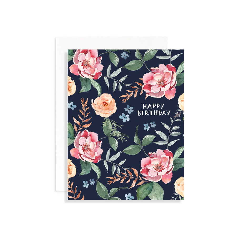 Indigo Floral Birthday Greeting Card