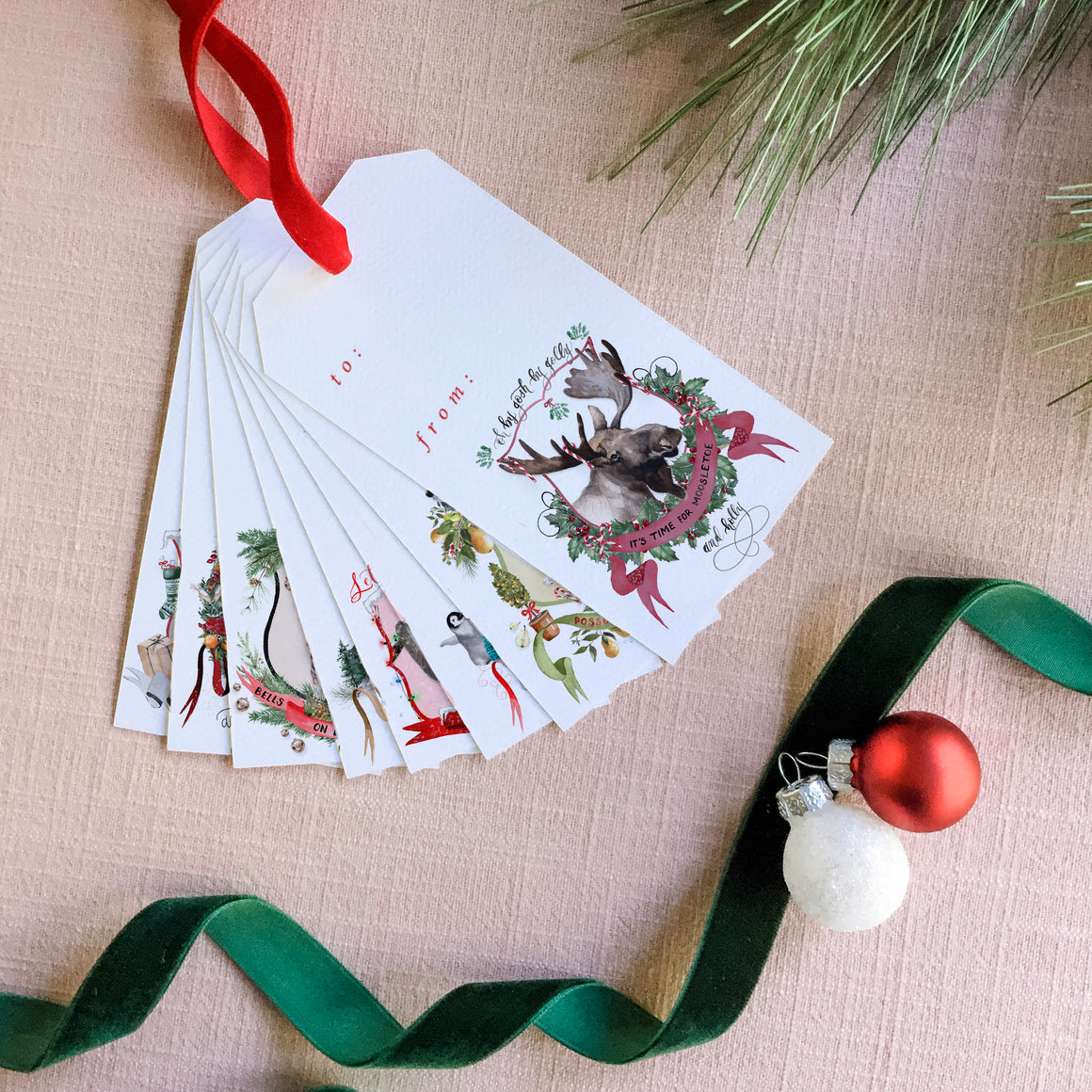 2019  Assorted Christmas Crests Gift Tag Set