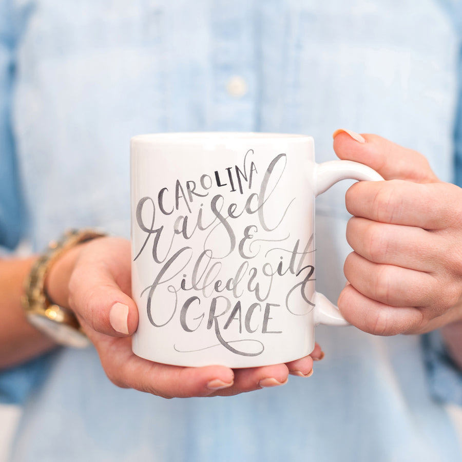 Carolina Raised and Filled with Grace Mug