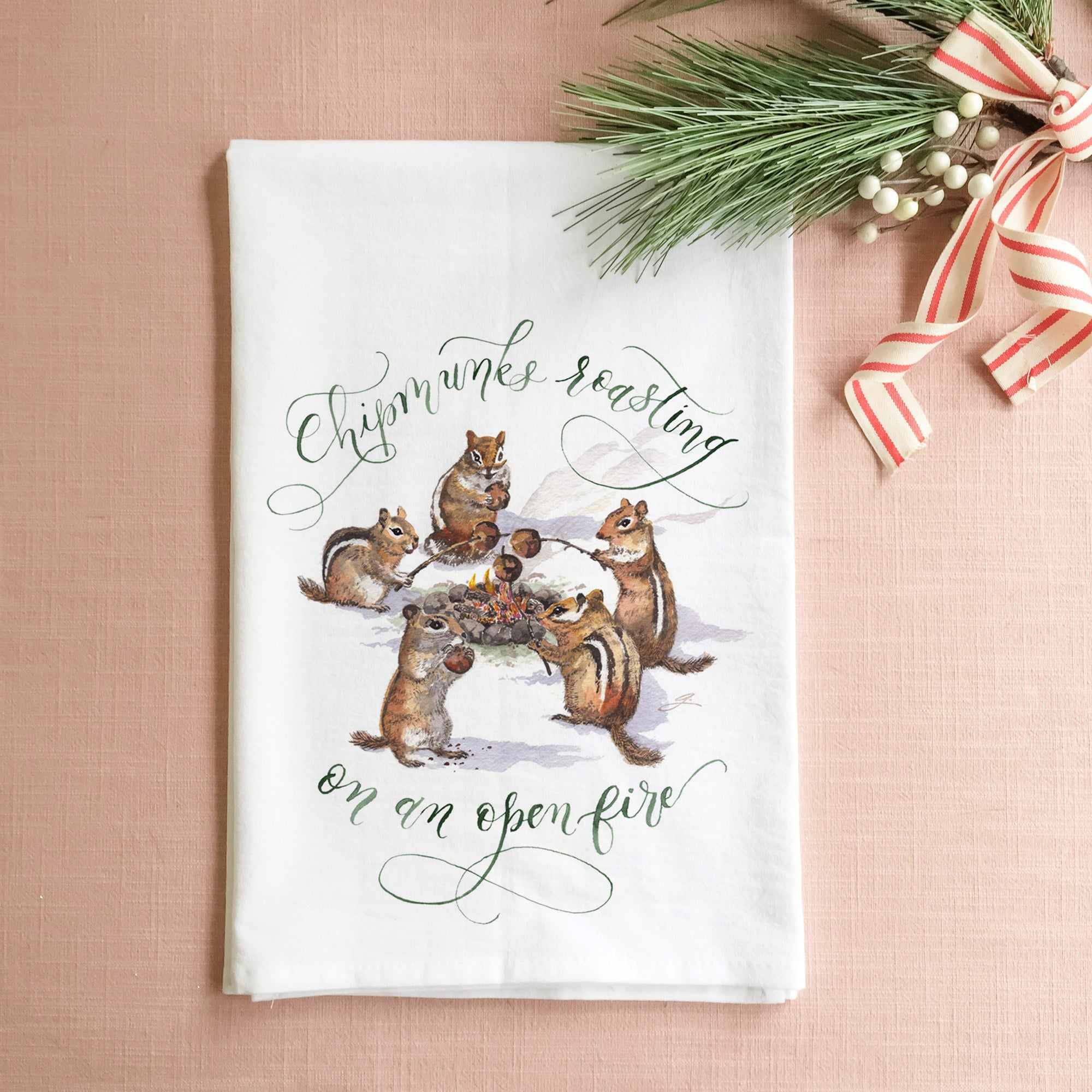 Chipmunks Roasting on an Open Fire Tea Towel | Father-Daughter Collaboration