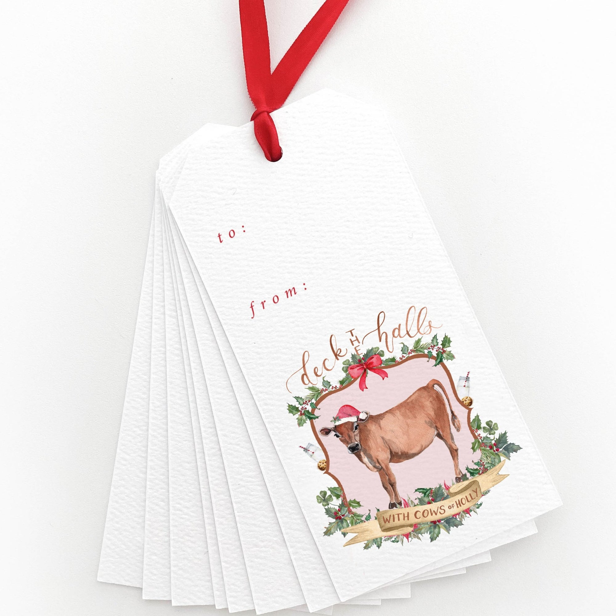 Deck the Halls with Cows of Holly Gift Tags