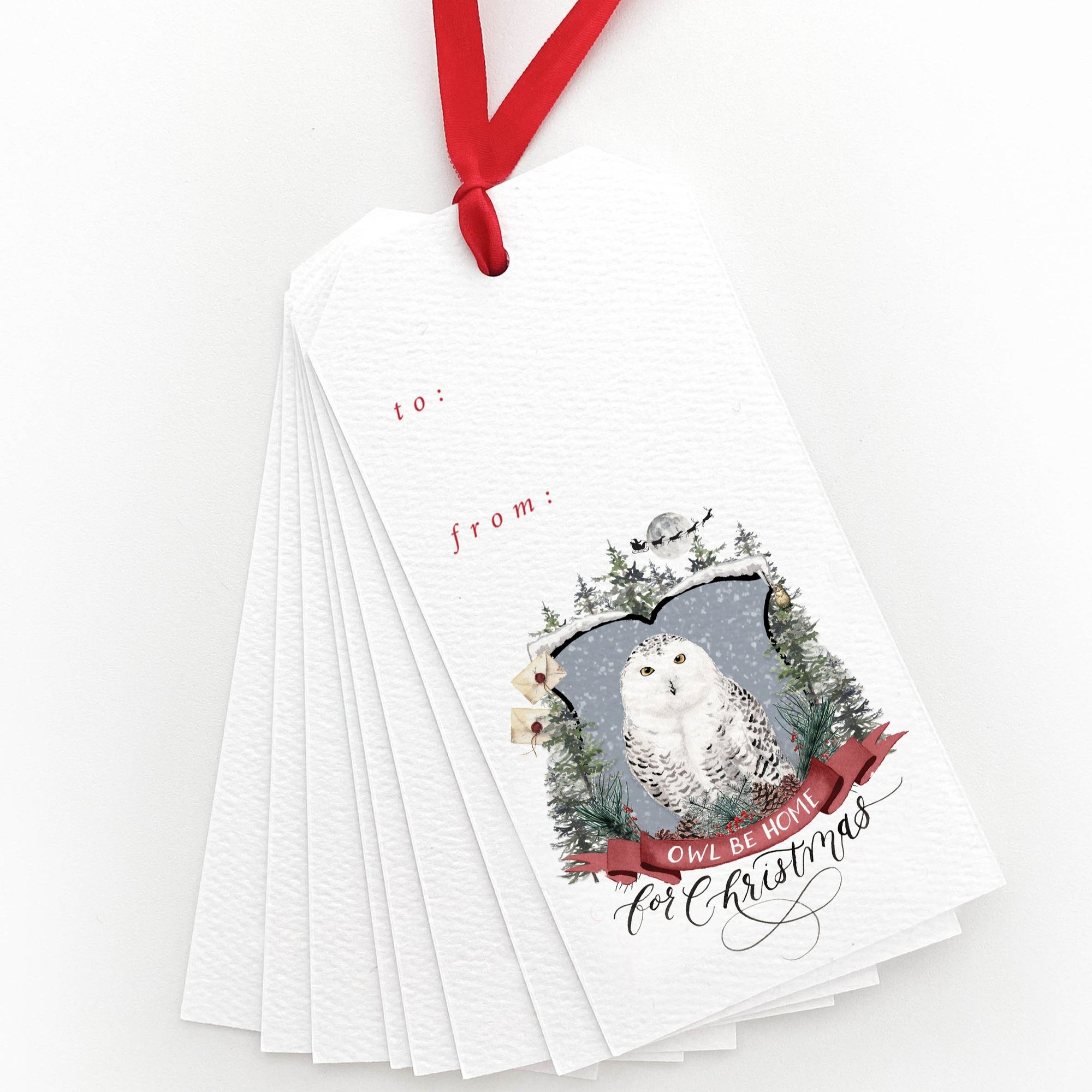 Owl Be Home for Christmas Gift Tags