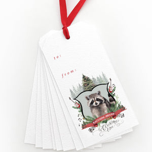 Raccoon Around the Christmas Tree Gift Tags