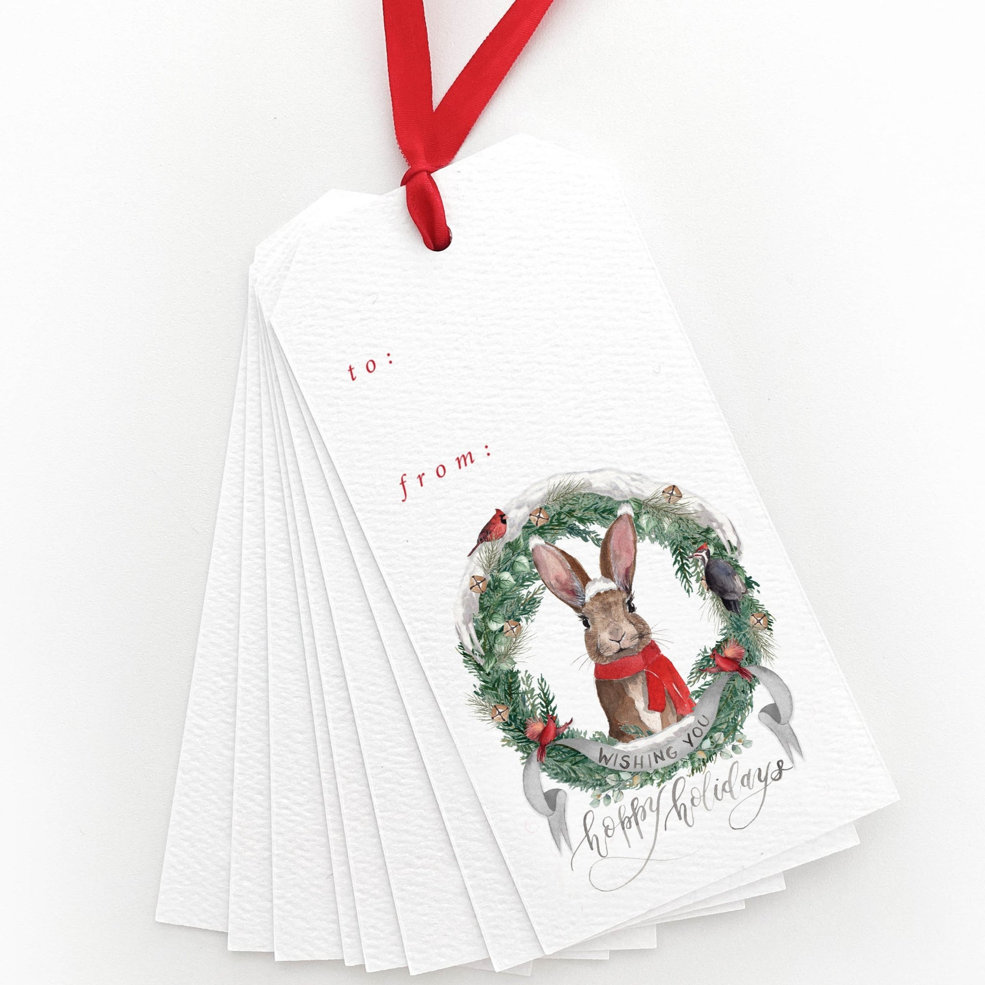 Wishing You Hoppy Holidays Gift Tags
