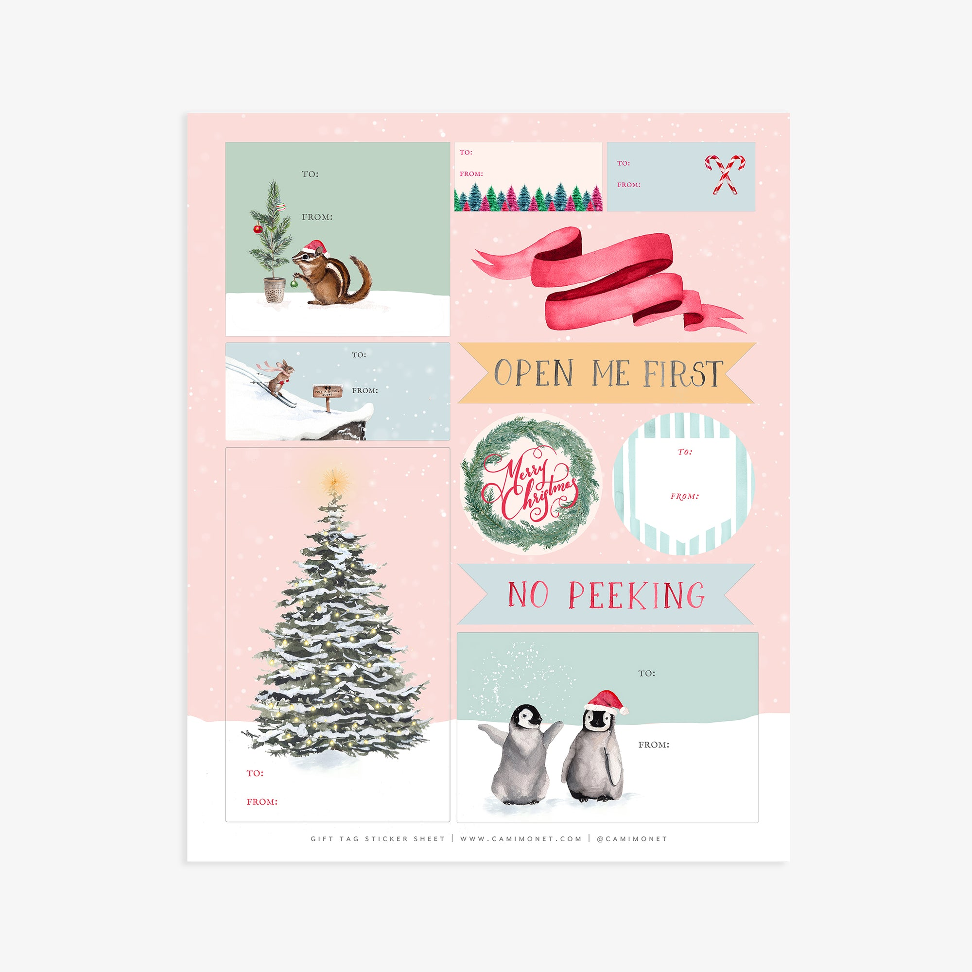 Holiday Gift Tags Sticker Sheet