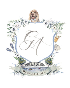 Custom watercolor wedding crest with venue illustration, pet portrait, french blue florals and greenery by Cami Monet