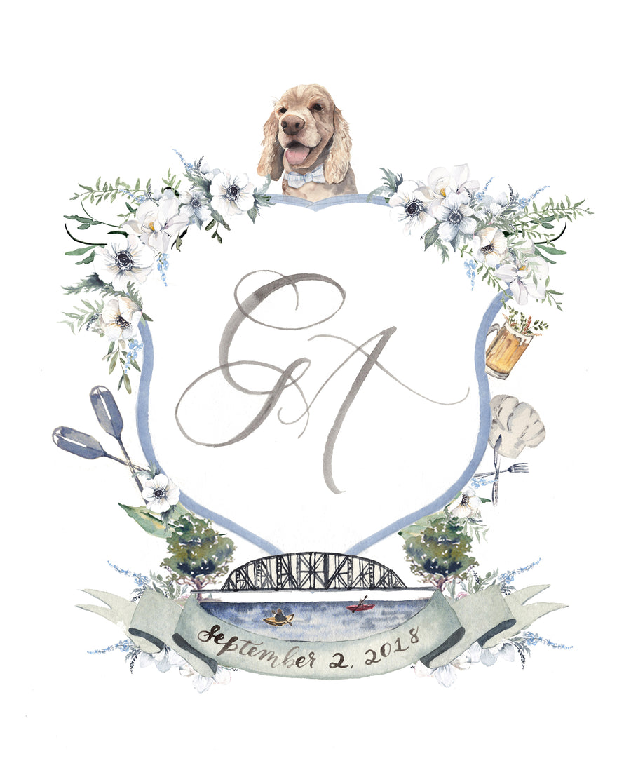 Custom Watercolor Wedding Crest with venue illustration and pet portrait by Cami Monet