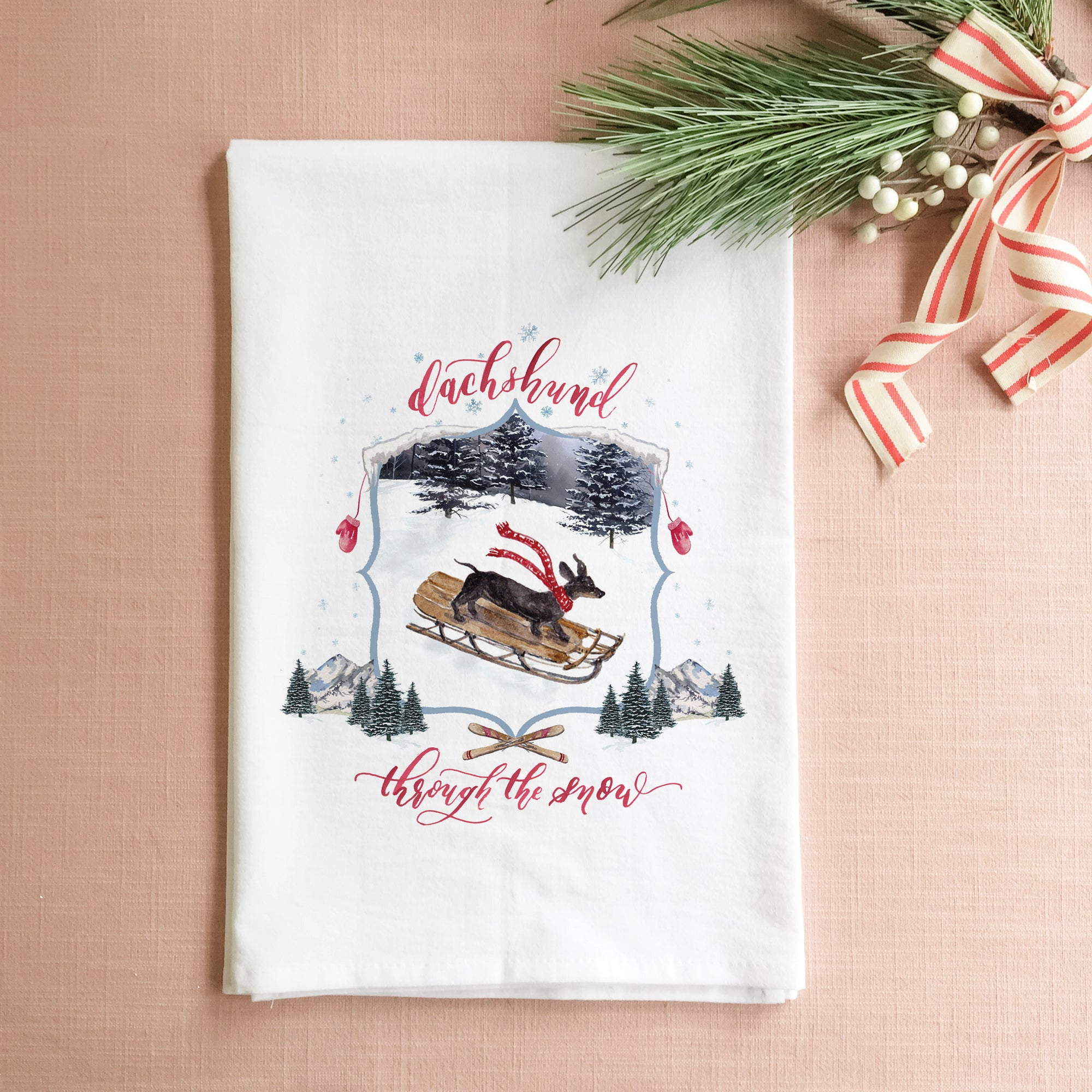 Dachshund Through the Snow Tea Towel