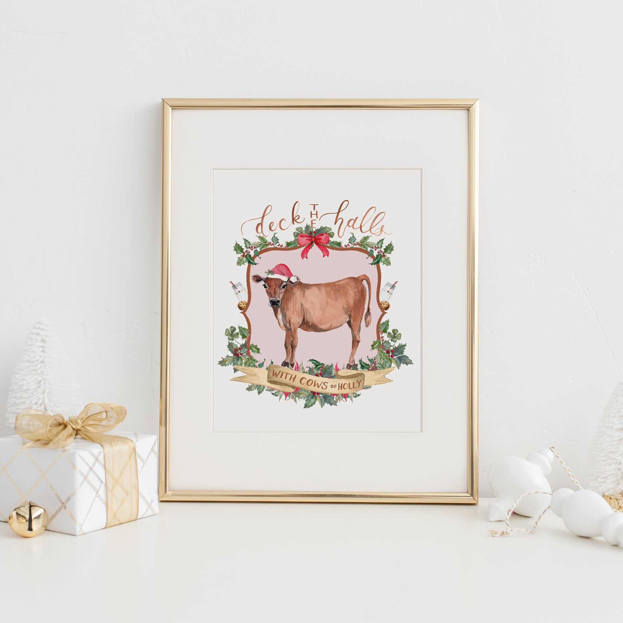Deck the Halls with Cows of Holly Art Print