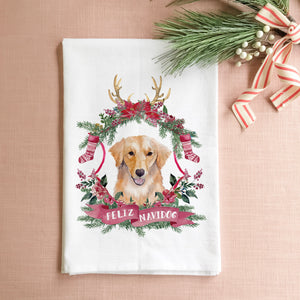 Feliz Navidog Tea Towel