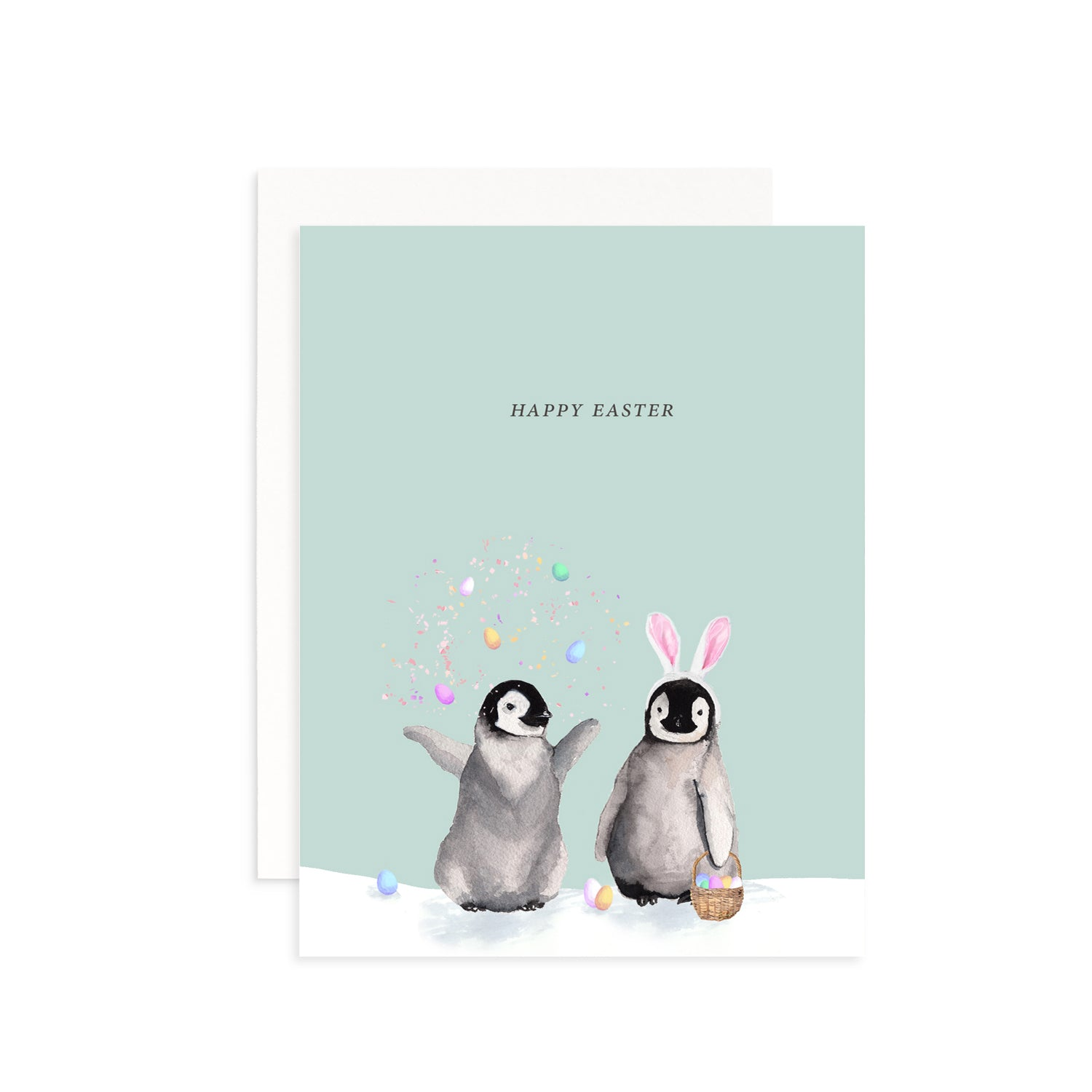 Happy Easter Penguins Greeting Card