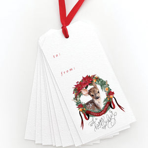 Happy New Deer Gift Tags