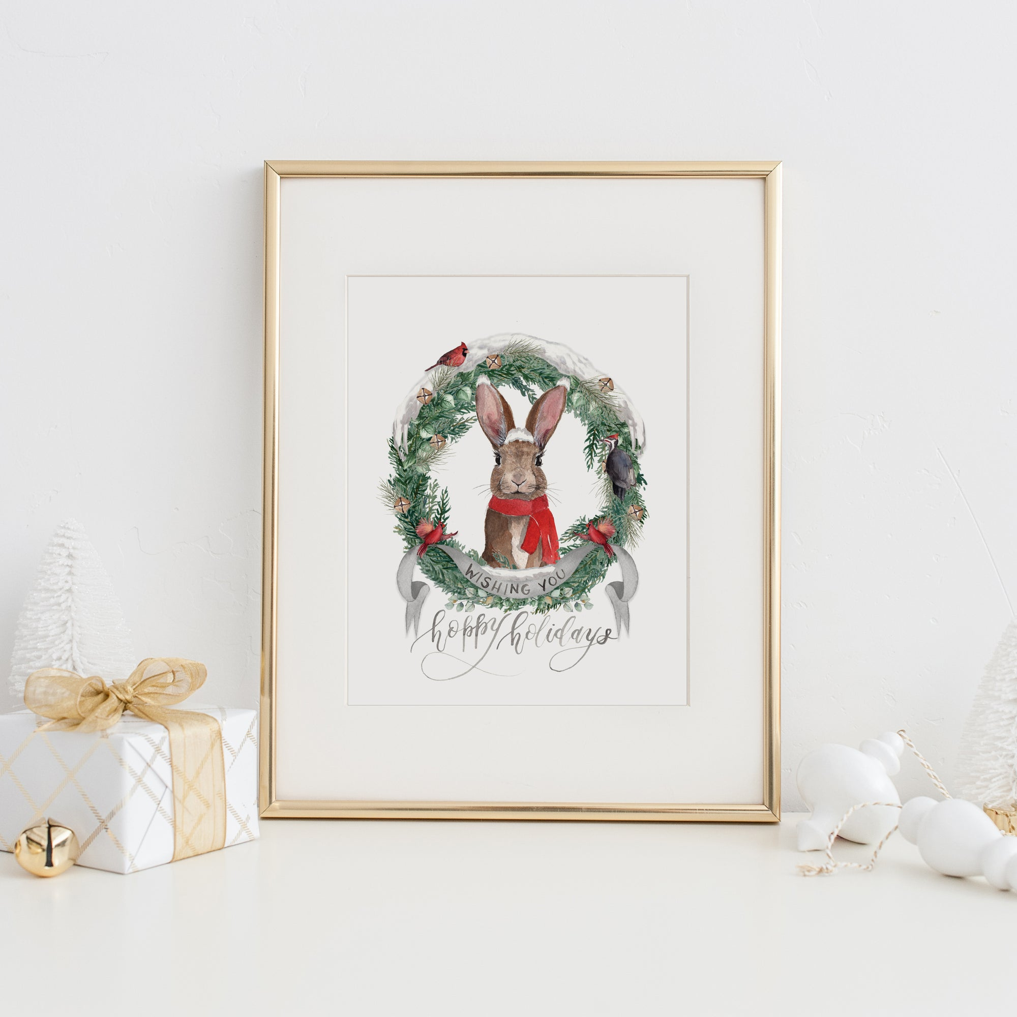 Wishing You Hoppy Holidays Art Print