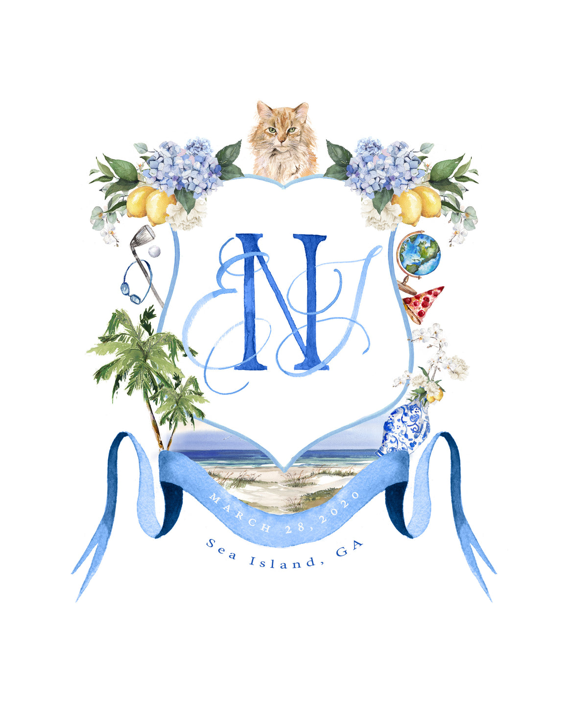 Custom Watercolor Wedding Crest