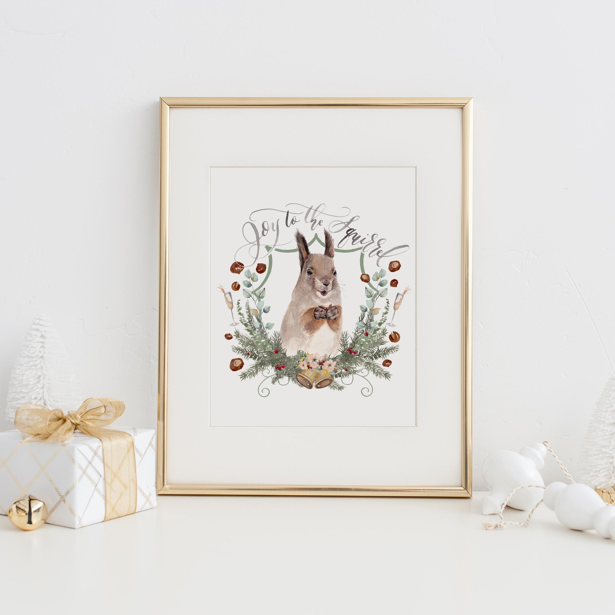 Joy to the Squirrel Art Print