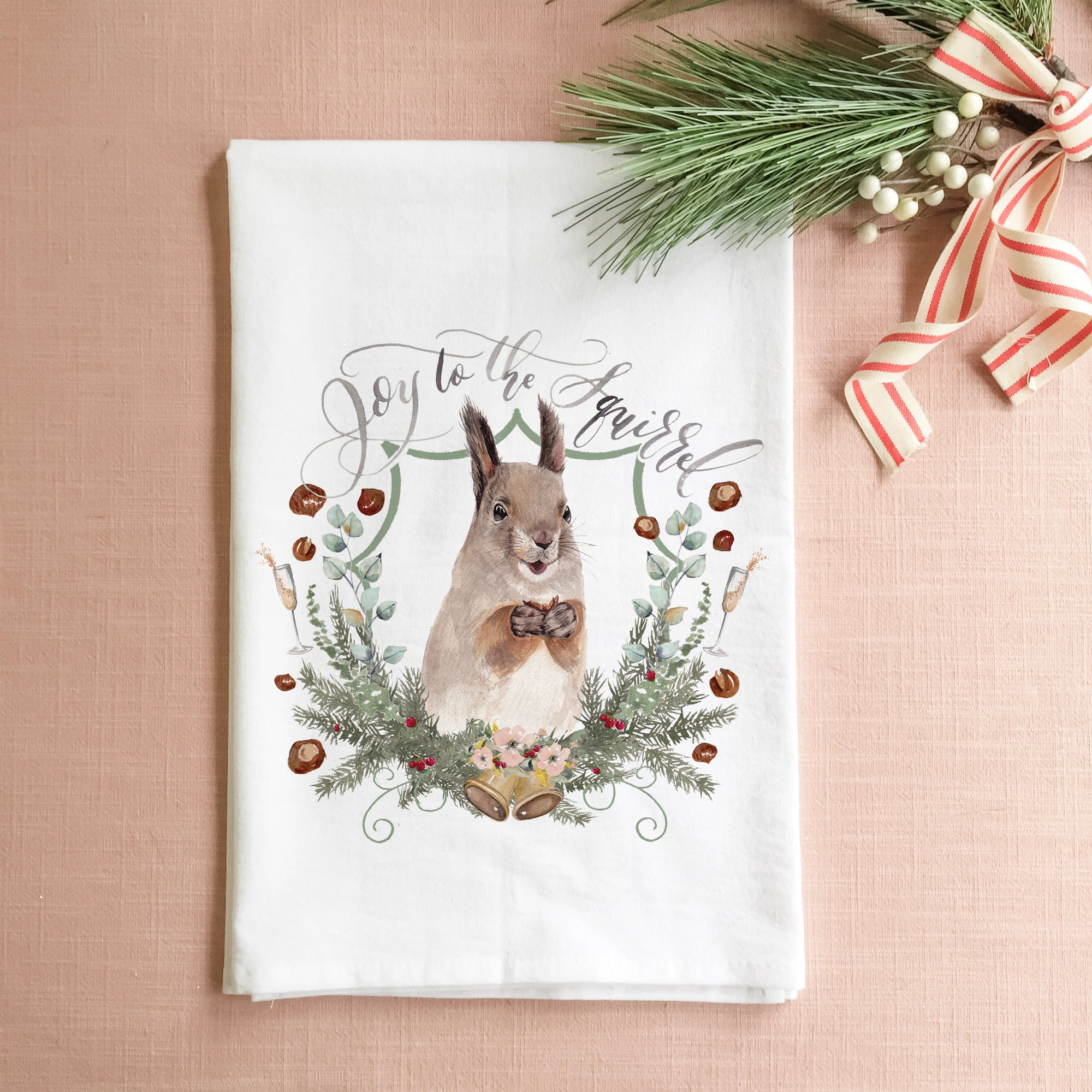Joy to the Squirrel Tea Towel
