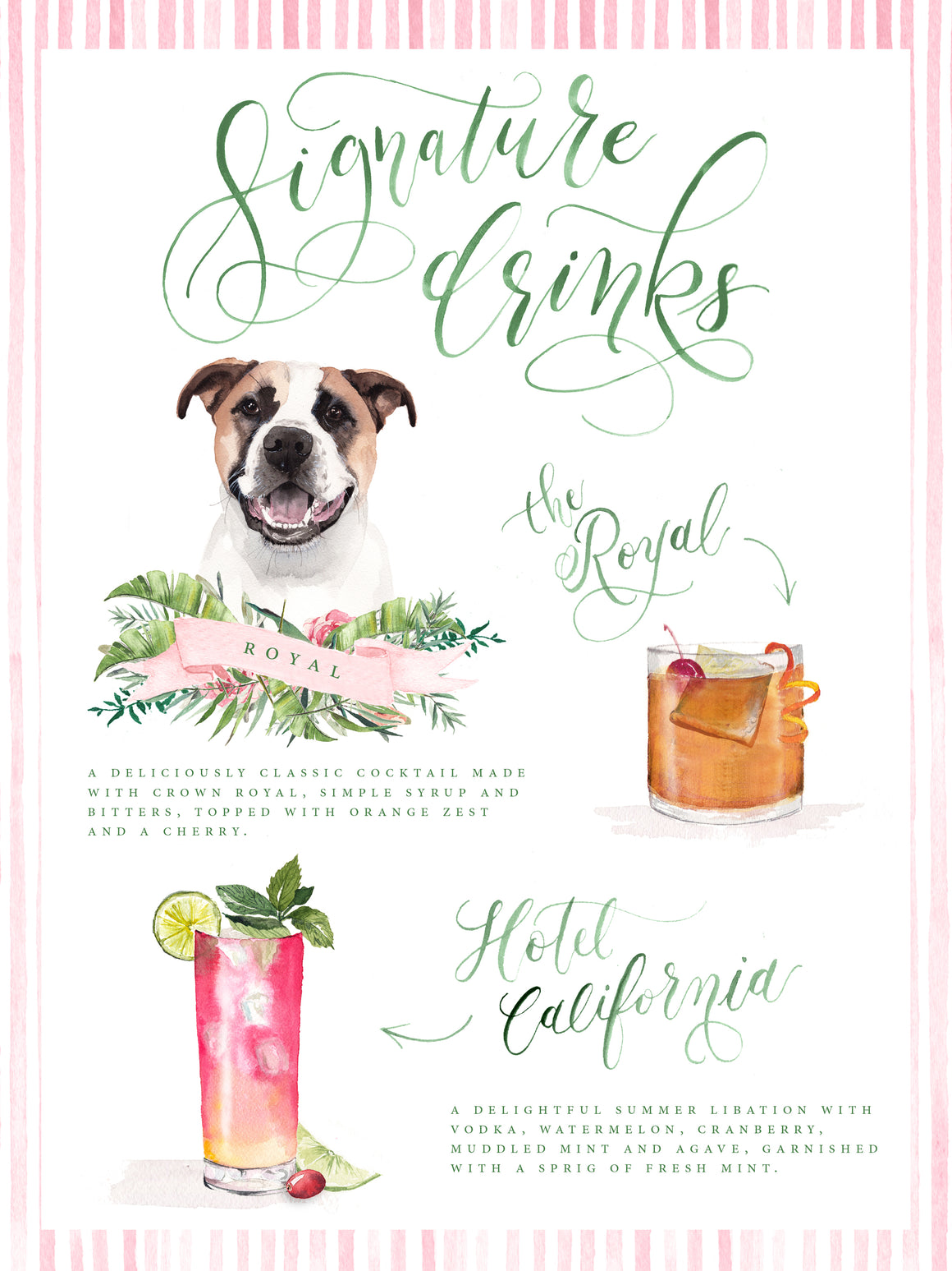 Custom Watercolor Signature Drink Sign