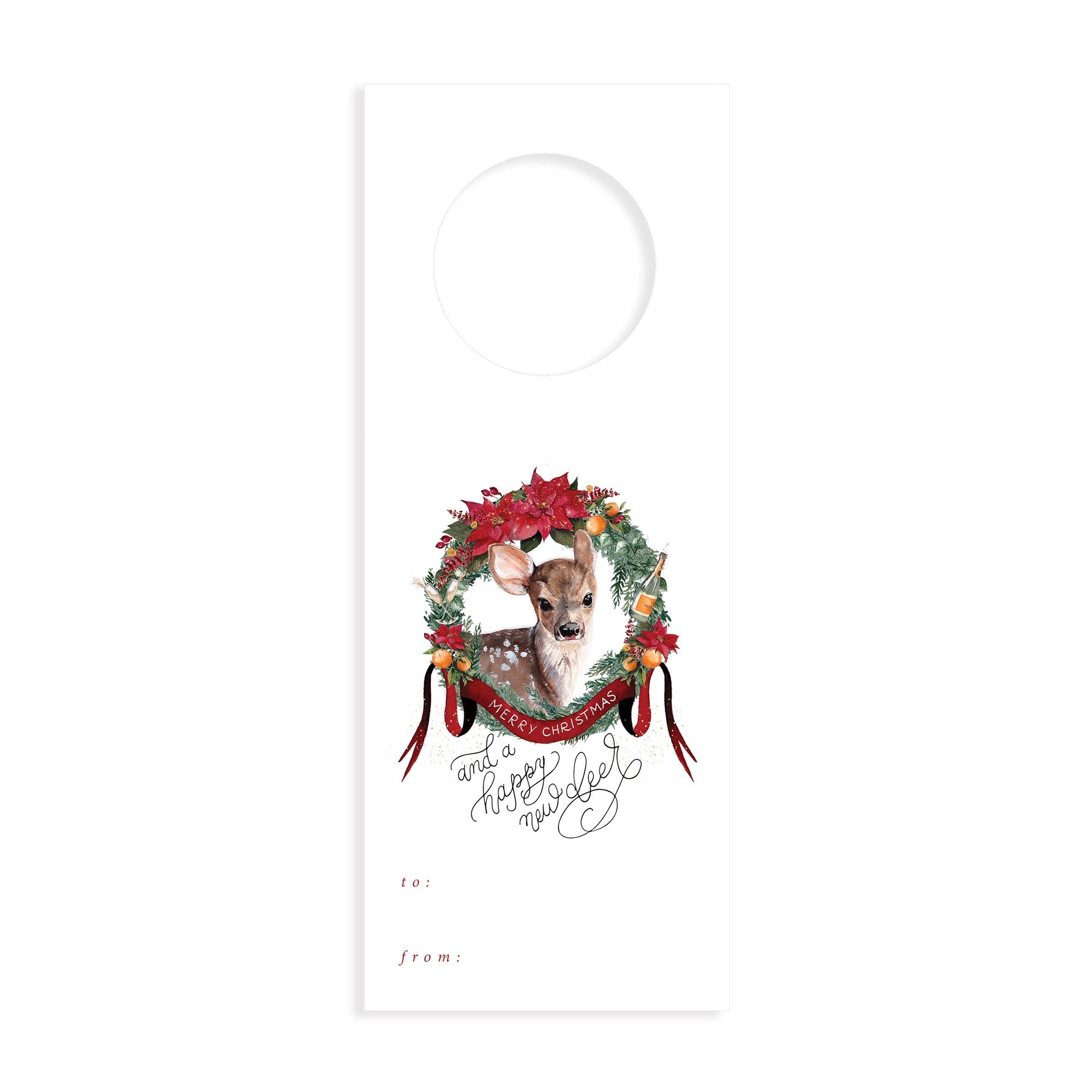 Merry Christmas & Happy New Deer Wine Tags