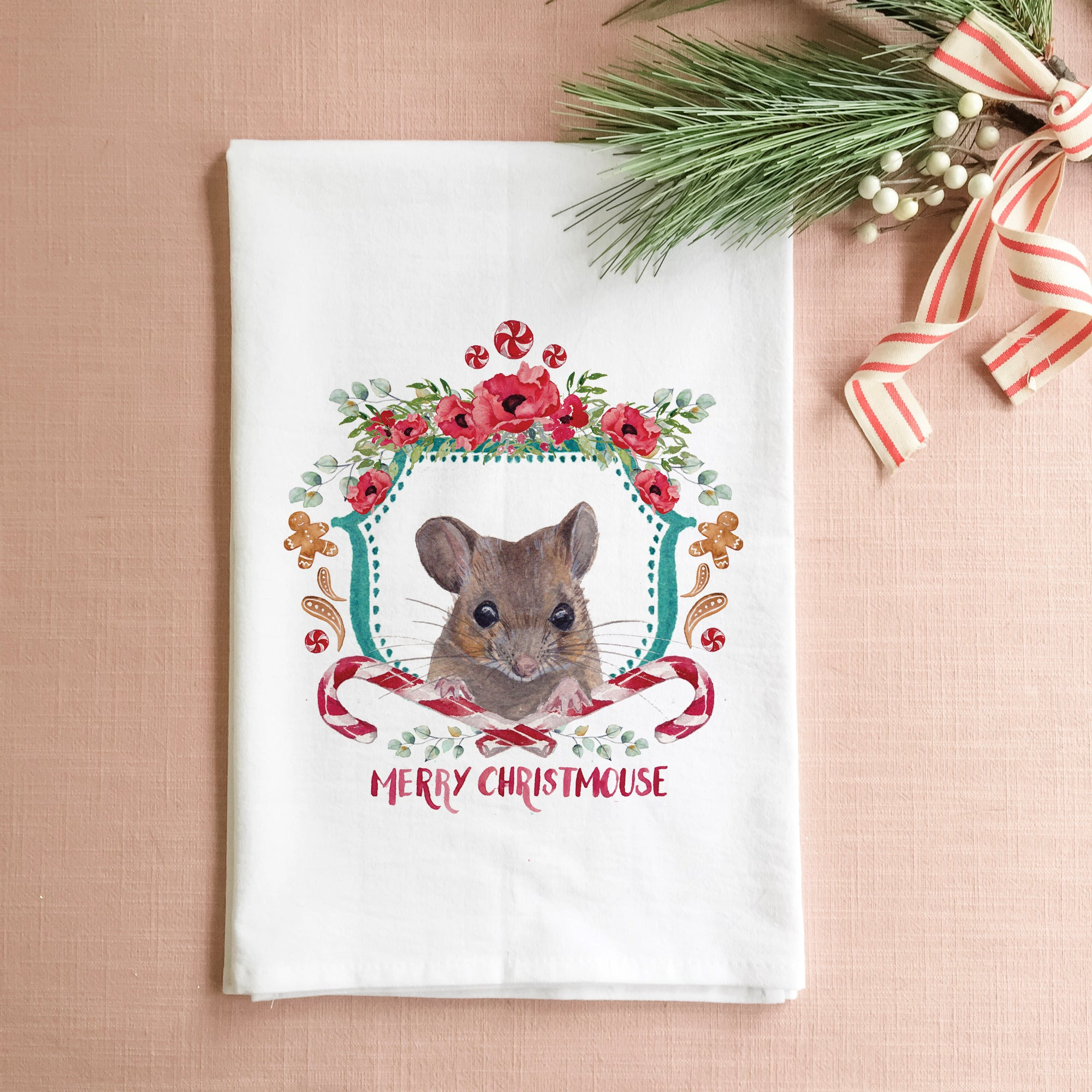 Merry Christmouse Tea Towel