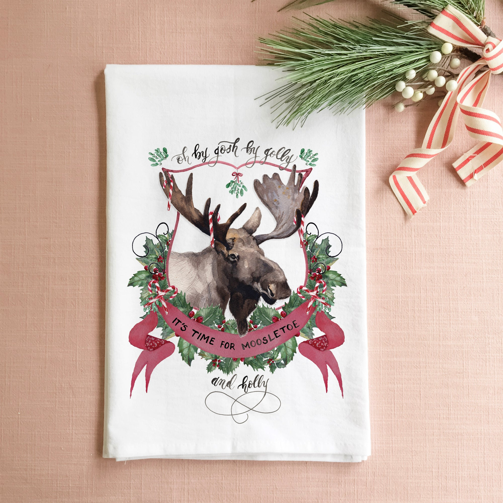 Moosletoe and Holly Tea Towel