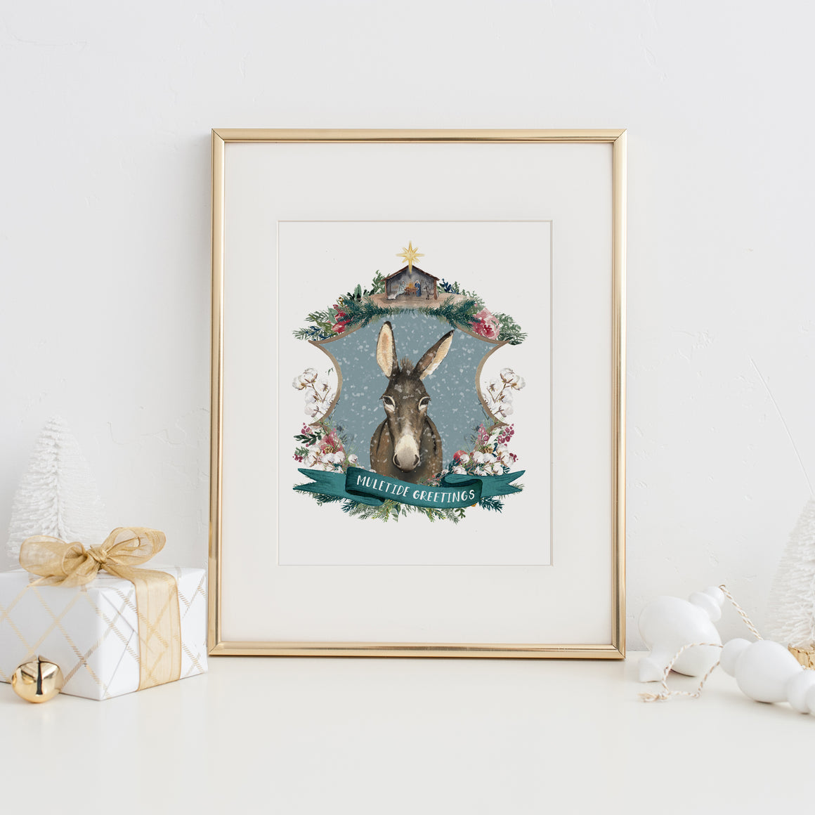 Muletide Greetings Art Print