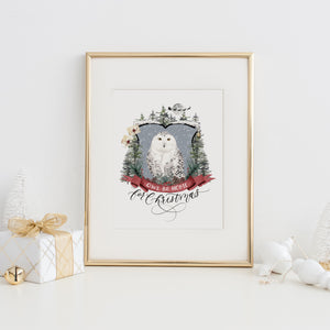 Owl Be Home for Christmas Art Print
