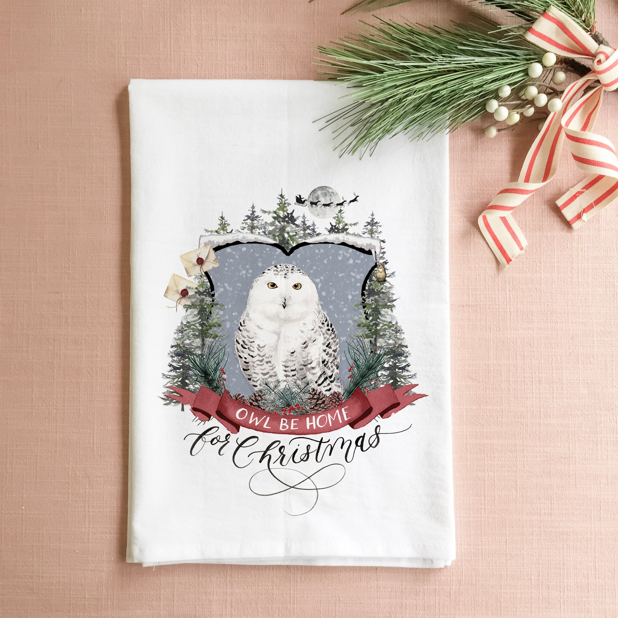 Owl Be Home For Christmas Tea Towel