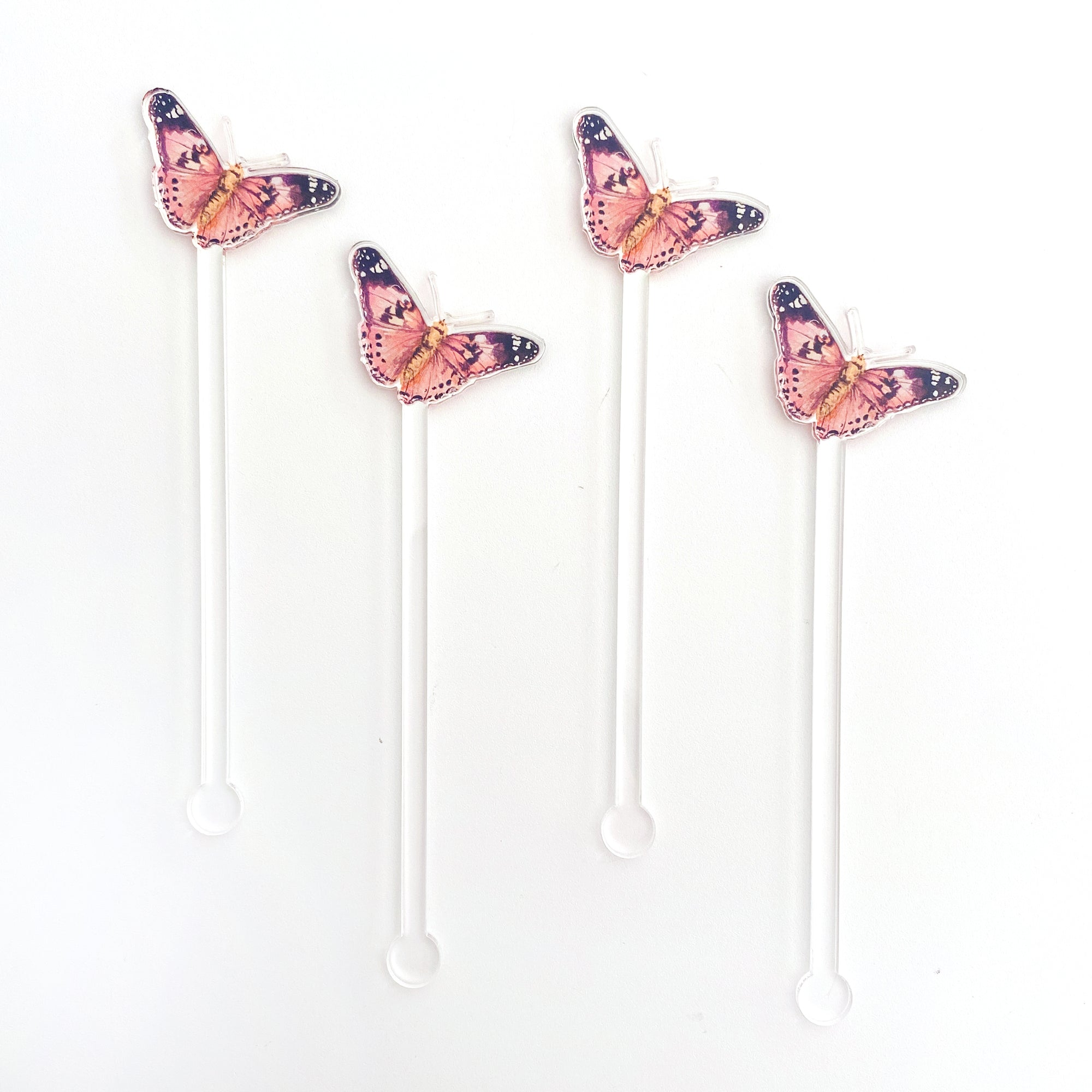 Painted Lady Butterfly Acrylic Stir Sticks