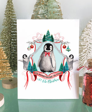 It's Penguining to Look a Lot Like Christmas Art Print