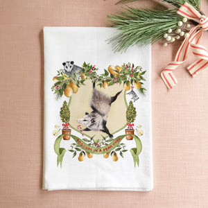 Possum in a Pear Tree Tea Towel
