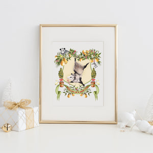 Possum in a Pear Tree Art Print