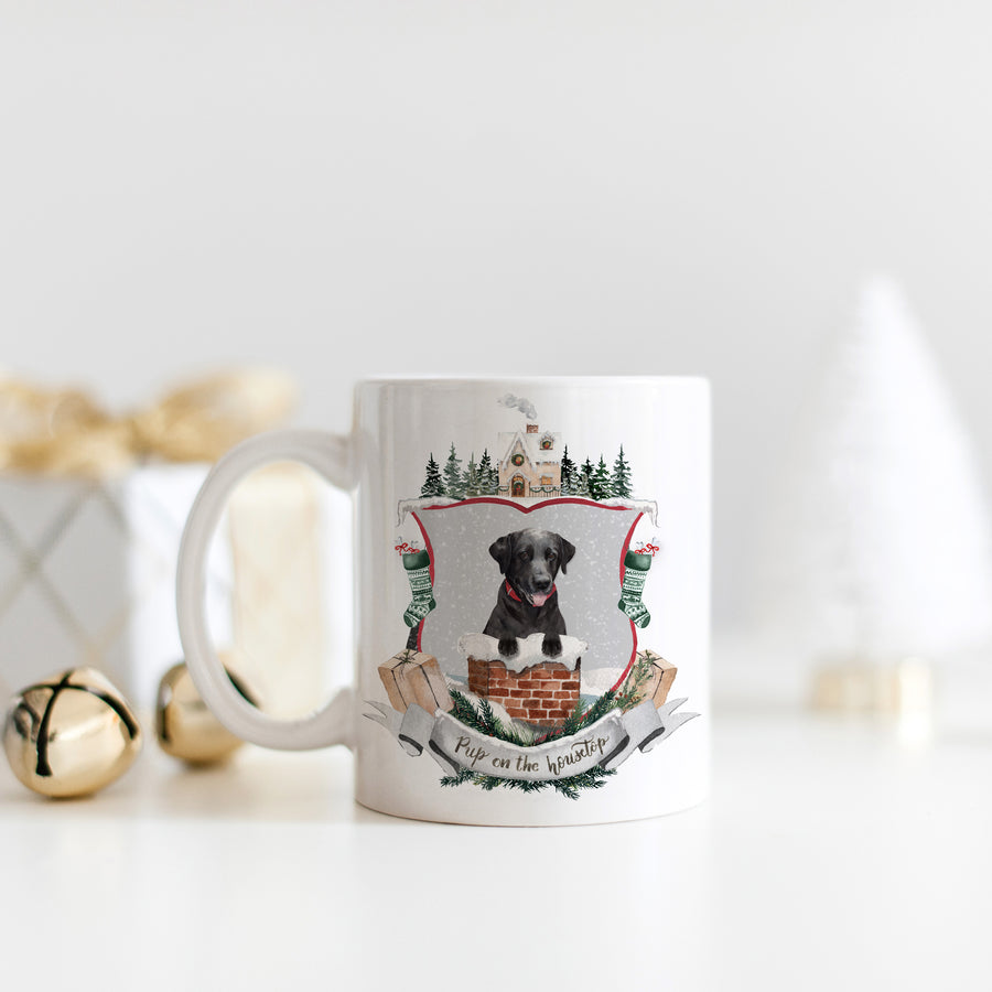 Pup on the Housetop Christmas Mug