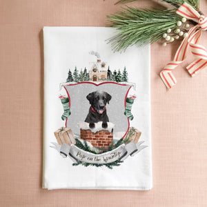 Pup on the Housetop Tea Towel