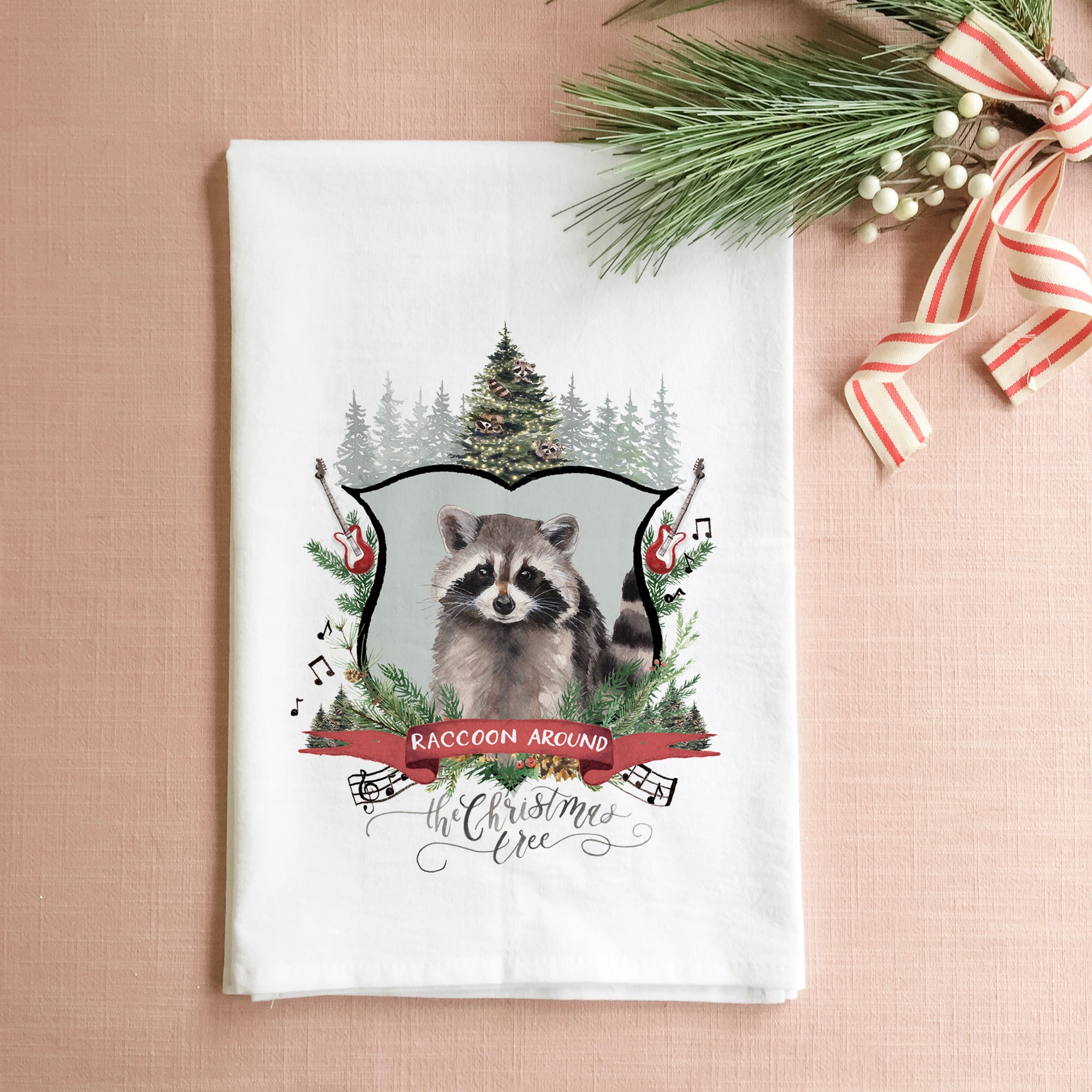 Raccoon Around the Christmas Tree Tea Towel